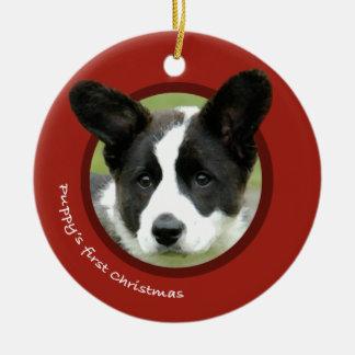 Puppy's First Christmas (Cardigan Welsh Corgi) Round Ceramic Ornament