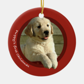 Puppy's First Christmas (Golden Retriever) Ceramic Ornament
