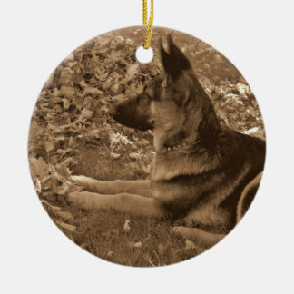 Puppy's First Christmas Round Ceramic Ornament
