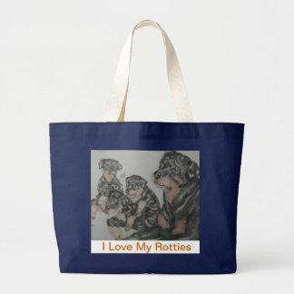 Pups & Nina pic, I Love My RottiesRottweilertea... Large Tote Bag