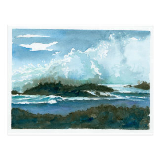 Pupukea Beach Oahu Hawaii Watercolor Waves Art Postcard