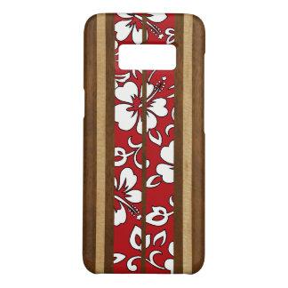 Pupukea Hibiscus Hawaiian Faux Wood Surfboard Case-Mate Samsung Galaxy S8 Case