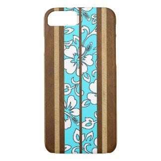 Pupukea Hibiscus Hawaiian Faux Wood Surfboard iPhone 8/7 Case
