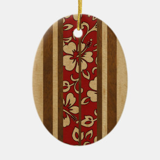 Pupukea Vintage Hawaiian Faux Wood Surfboard Ceramic Ornament