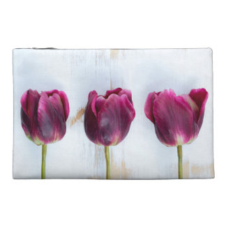 PUR-polarize tulips on white rustic wooden backgro Travel Accessories Bags