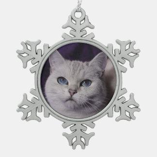 PUR-polarize XMAS Cats Snowflake Pewter Christmas Ornament
