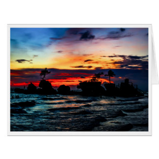 Pura Tanah Lot Temple, Bali, at sunset. Card