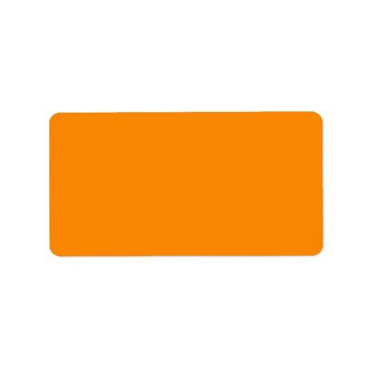 Pure Bright Orange Customized Template Blank Label
