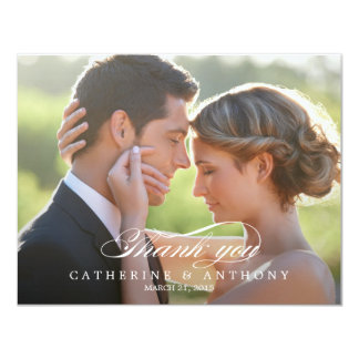 "Pure Elegance Wedding Photo Thank You Card 4.25"" X 5.5"" Invitation Card"