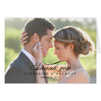 Pure Elegance Wedding Thank You Card - Black