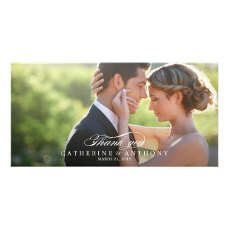 Pure Elegance Wedding Thank You - White Personalized Photo Card