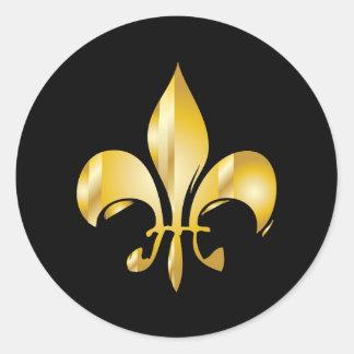 Pure Gold Fleur de Lis Classic Round Sticker