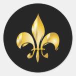 Pure Gold Fleur de Lis Round Sticker