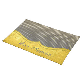 PURE GOLD pattern / gold leaf + your photo & text Placemats