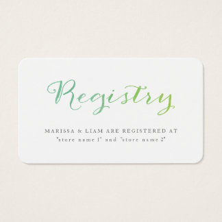 Pure Love Watercolor Registry Cards / Lime Emerald