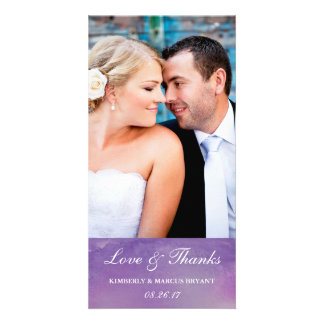 Pure Love / Watercolor Wedding Photo Card / Violet