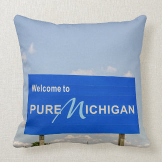 Pure Michigan Welcome Sign Throw Pillow