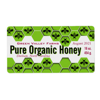 Pure Organic Honey Jar Personalized Shipping Label