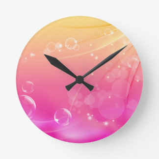 Pure pink abstract background glowing round clock