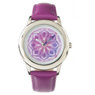Pure purple mandala for your happy life time wrist watch