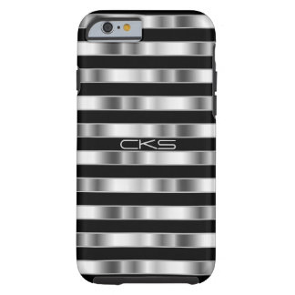Pure Silver Metallic Stripes | Monogrammed Tough iPhone 6 Case