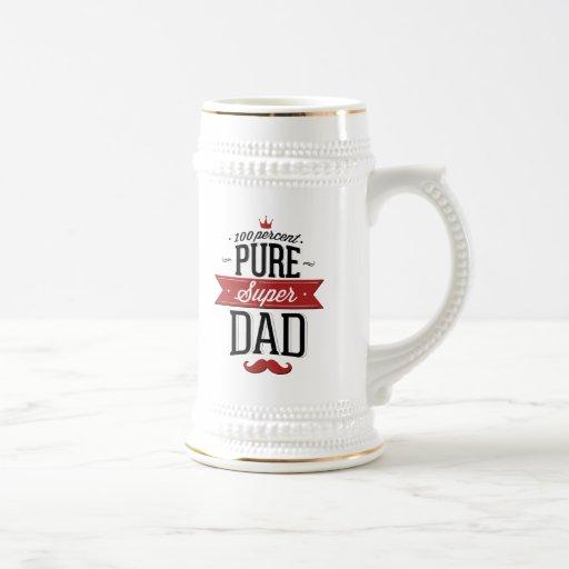 Pure Super Dad Moustache Red and Black Mug
