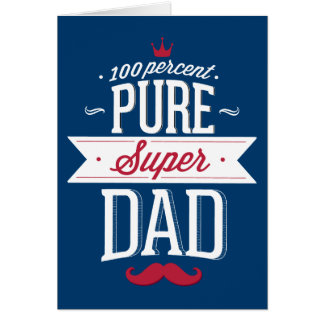 Pure Super Dad Moustache Red and White Greeting Card