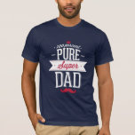 Pure Super Dad Moustache Red and White T-Shirt