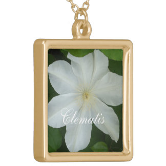 Pure White Clematis Square Pendant Necklace