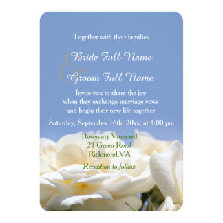 "pure white rose flowers  bride and groom wedding 4.5"" x 6.25"" invitation card"