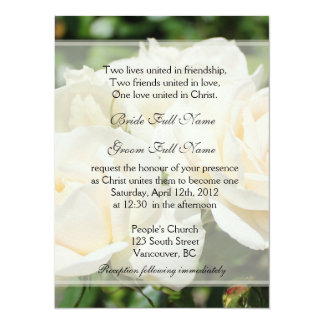 Pure white rose flowers Christian wedding Card