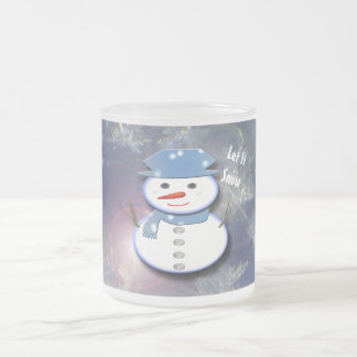Pure White Snowman Frosted Glass Coffee Mug