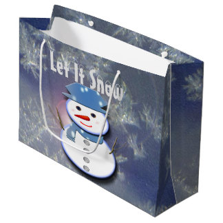 Pure White Snowman Large Gift Bag