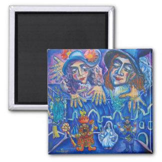 Purim Purimshpil Jewish 2 Inch Square Magnet