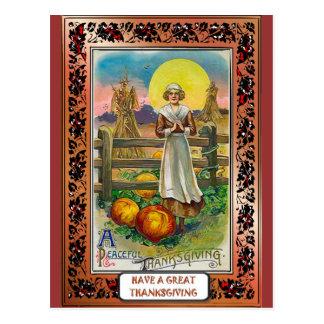 Puritan and pumpkins postcard