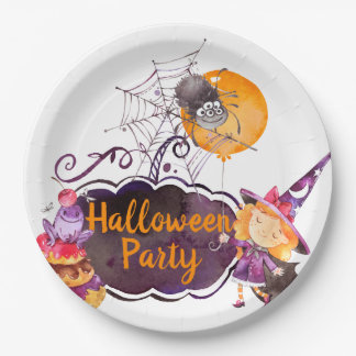 Purpe Halloween Party Little Witch Frog and Spider Paper Plate