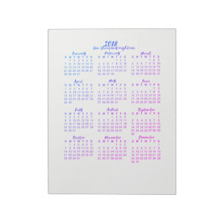 Purple  2018 Calendar Year at a Glance Calligraphy Notepad