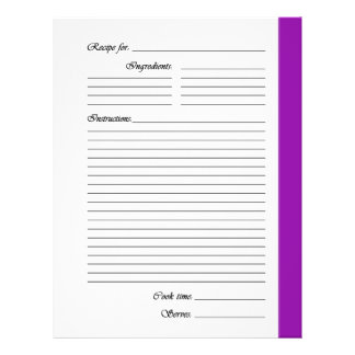 Purple 2-sided Recipe Pages Full Colour Flyer