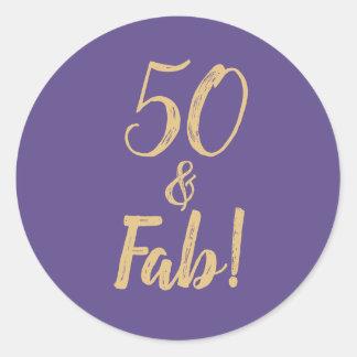 "Purple ""50 & Fab!"" 50th Birthday Party Classic Round Sticker"