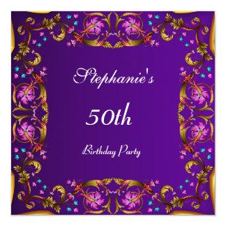 Purple 50th Birthday Party Flower Purple Card