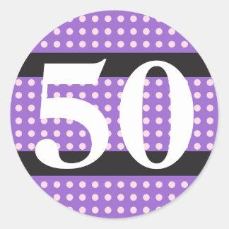 Purple 50th Birthday Pink Polka Dots Round Sticker
