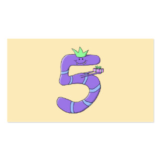 Purple 5th Birthday Cartoon. Business Card Templates