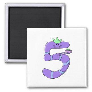 Purple 5th Birthday Cartoon. Magnet