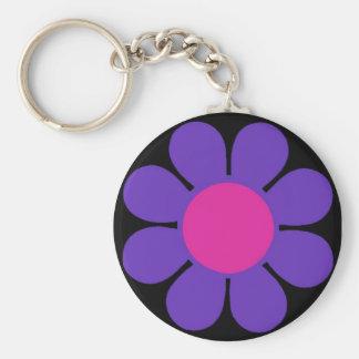 Purple 60's Flower Power Keychain