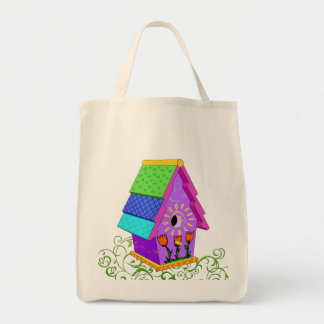 Purple A-Frame Birdhouse Canvas Bag