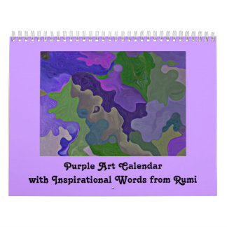 Purple abstract art and inspiration wall calendar