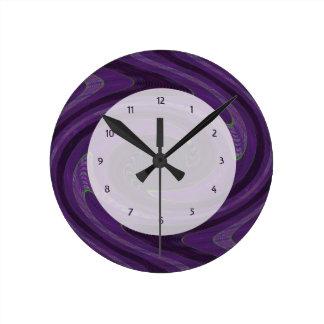 purple abstract art round clock