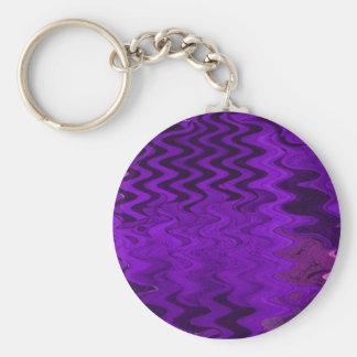 Purple abstract basic round button keychain