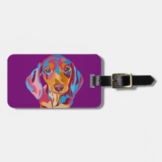 Purple Abstract Dachshund Luggage Tag