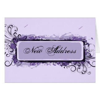 Purple Abstract Floral Change of Address Card